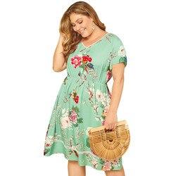 Duży Plus rozmiar sukienka lato drukowane kwiatowy Sexy kobiety sukienka z nadrukiem kolorowe Lady sukienka z krótkim rękawem Letnia sukienka 5
