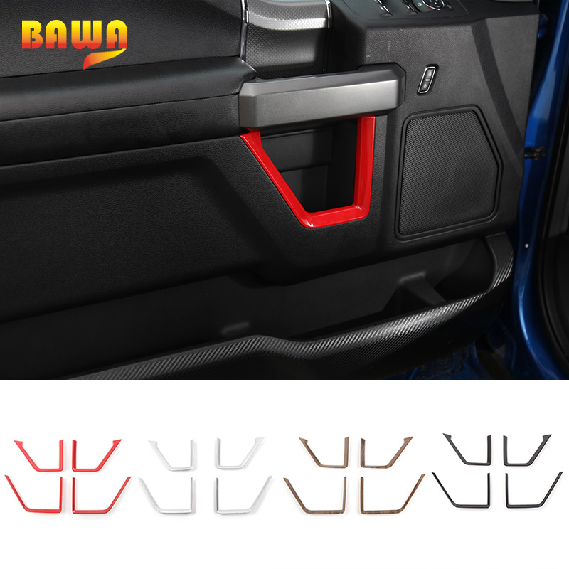 HANGUP ABS Car Door Panel Strips Frame Cover Trim Decoration Stickers For Ford F150 2015 Up