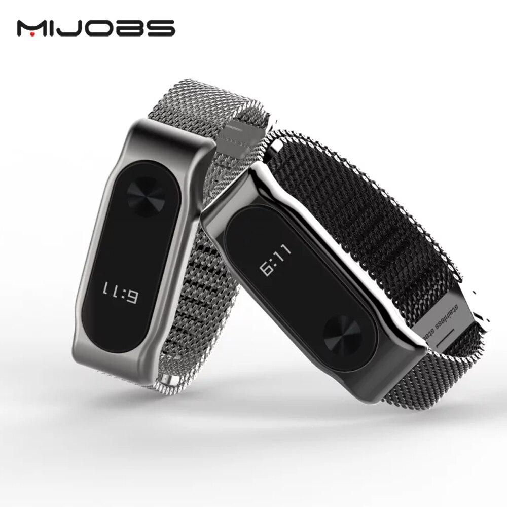 Mijobs Sans Vis En Acier Inoxydable Bracelet Pour Xiaomi Mi Bande 2 Bracelet En Métal Accessoires Pour Mi Bande 2