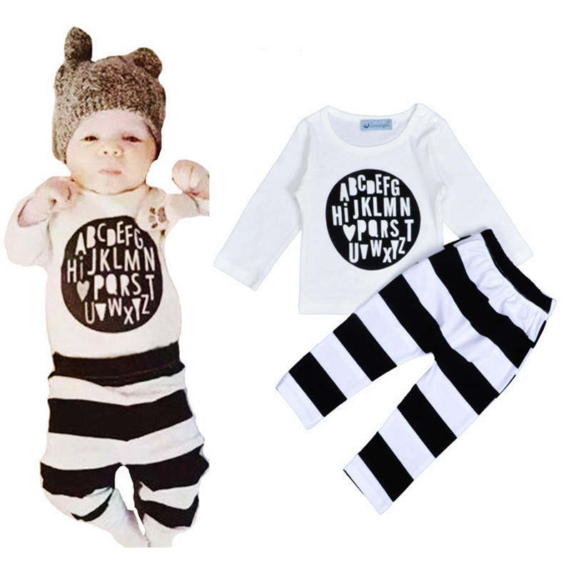 0-2 years old baby boys suit 2016 spring and autumn style letters printed long sleeved T-shirt and striped Haren pants two sets