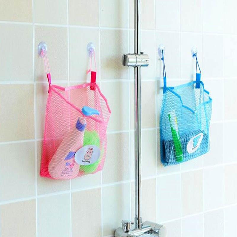 Suction Cup Basket Multifunction 1 PC Home Storage Tools Bathroom Mesh Bag Folding Net Baskets Child Bath Toy Storage Bags