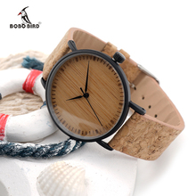 BOBO de AVES De Madera Dial Relojes Correa de cuero Reloj De Madera Único para Damas Relojes de Moda para Hombres y Mujeres E19