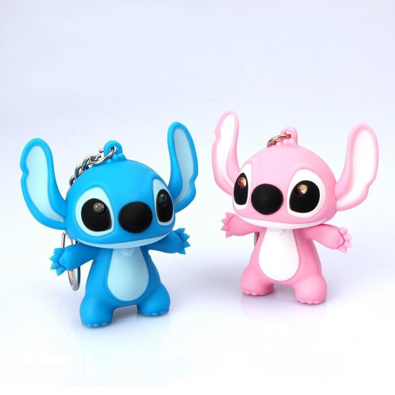 Venta al por mayor 100 unids/lote nuevos juguetes Lilo y Stitch dibujos animados Anime Stitch LED llaveros iluminación sonidos juguetes novedosos juguetes para bebés regalos-in Figuras de juguete y acción from Juguetes y pasatiempos    3