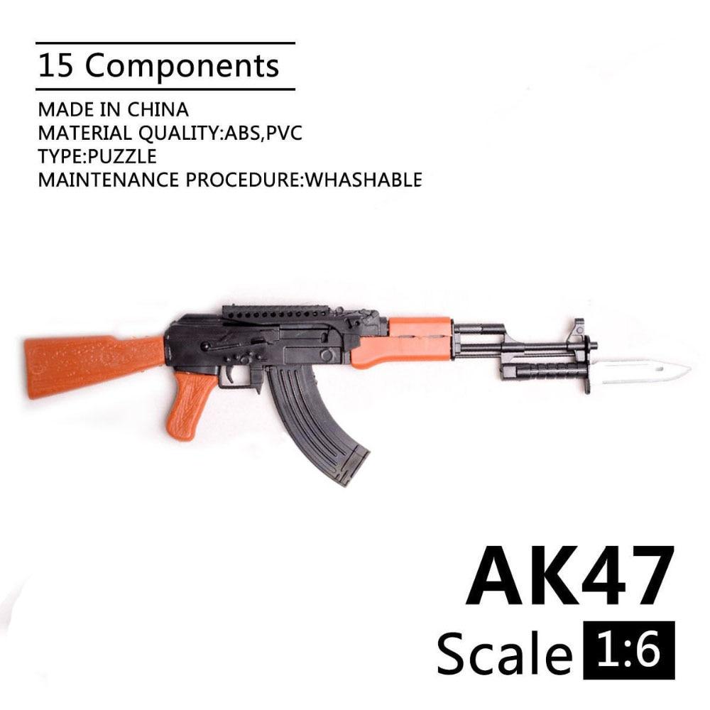 1:6 AK-47 fusils d'assaut 1/6 assembler pistolet modèle assemblage arme en plastique pour 1/6 soldat militaire blocs de construction jouet
