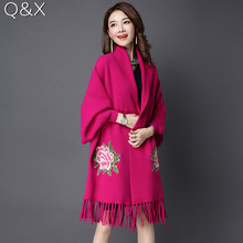 SC68 Women Fake Cashmere Long Sleeves Poncho Cardigan Bridal Wedding Shawl Cape 2018 Winter Lady Embroidered Vest Floral Coat