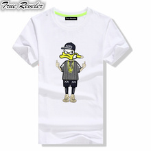 True Reveler Luxury Brand 2017 fashion short Sleeve embroidery Anime Donald Duck Funny Cartoon t-shirt men and women Tees tops