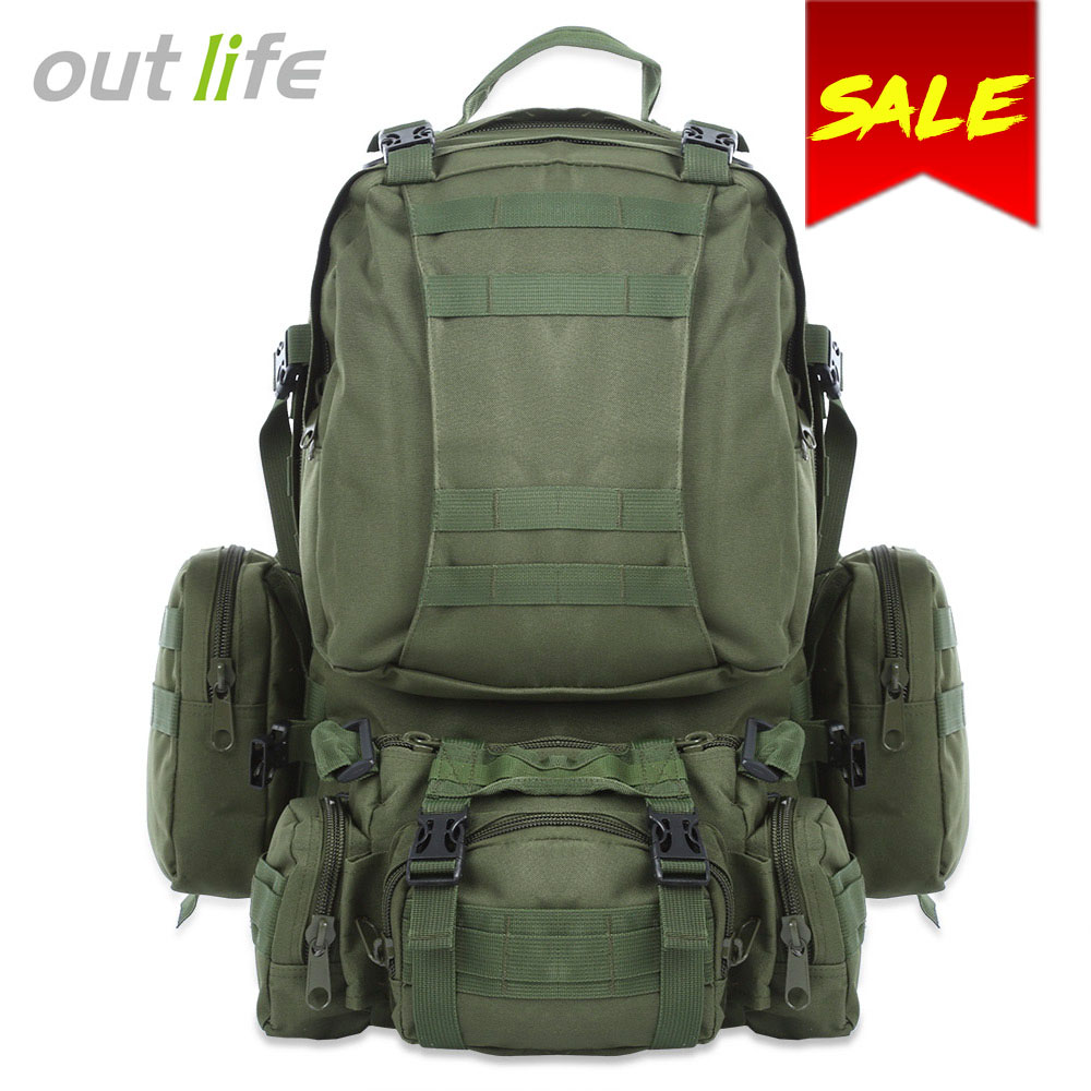 Outlife 50L Outdoor Backpack Military Molle Tactical Bag Rucksack Camping Hiking Bag Trekking Backpack Camouflage Sport Bag Men 55l molle combination backpack hiking camping mountaineer military backpack outdoor bag tactical trekking rucksack backpack camo