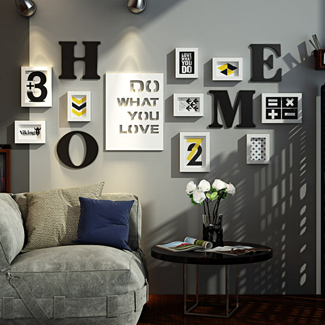 SUFEILE Living Room Combination Decor Picture frame European Creative photo Wall Solid Wood Home Composite Photo Frame Wall D30