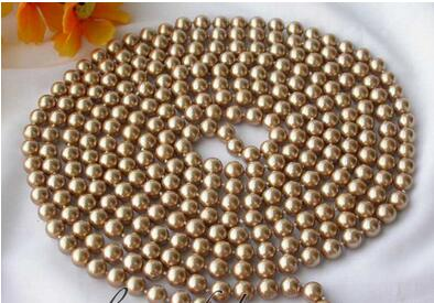 long 8mm round champagne shell pearl necklace Handmade long chain Silver Jewelry in Chain Necklaces from Jewelry Accessories