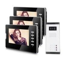 New 7″color screen apartment video door intercom system 3 monitors video door phone with 1 doorbell camera