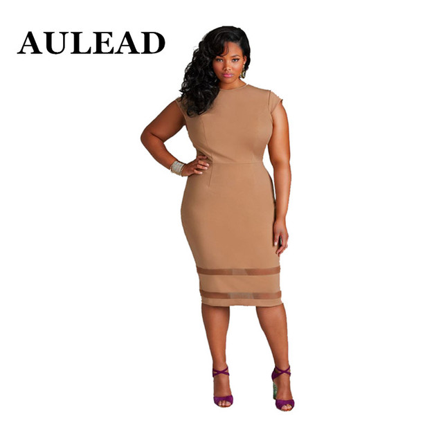 b346ed56a0603 AULEAD 2018 Spring Women Dress New Large Size Dress Fashion Sexy Dresses  Round neck Knee-Length off White Plus size 5XL Vestido