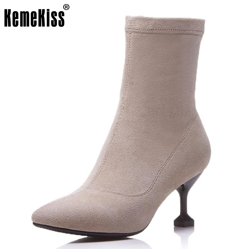 KemeKiss Size 34-39 Ladies Real Leather High Heel Mid Calf Winter Boots Women Sexy Pointed Toe Zip Elastic Shoes Women Warm Bota spring black coffee genuine leather boots women sexy shoes western round toe zipper mid calf soft heel 3cm solid size 36 39 38