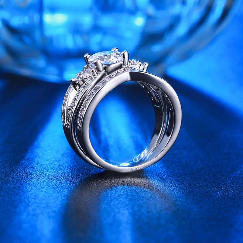 Bague de mariage large ensemble zircon cubique bagues de fiançailles 2 pièces CZ Dimond Vintage couleur or blanc bague de fiançailles femme ensemble CC228