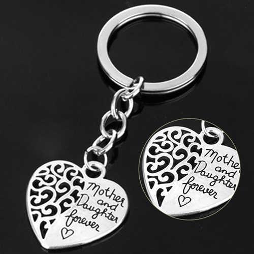 Mãe e Filha Para Sempre Coração Oco Anel Chave Keychain Presente Do Dia das Mães