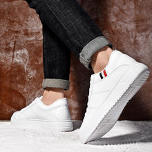 Fashion Winter Warm Plush Leather Casual Shoes Men Height Increasing Mens White Shoes