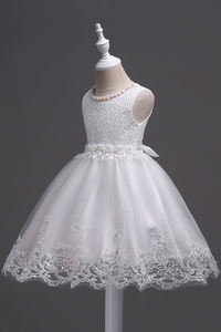 Image 3 - 素敵なレースアップリケビーズ真珠フラワーガールドレスキッズイブニングドレス結婚式初聖体服vestido 1 10Years