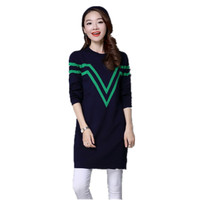 Medium Long Knitting Sweaters And Pullovers For Women New Autumn Winter Coat ONeck Striped Mini Dress