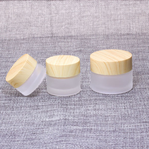 Image 5 - 5G 10G 15G 30G 50G Frost Glass Bottle Plastic Bamboo Lid Glass Jar Empty Bottle Cream Jar Cosmetic Packaging Container