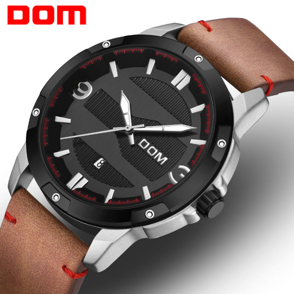 DOM Watch Men Luxury Big Dial Sport Military Clock Leather Strap Quartz Wrist Watches Waterproof Calendar reloj hombre M-1219 dom men watch top luxury men quartz analog clock leather steel strap watches hours complete calendar relogios masculino m 11 page 3