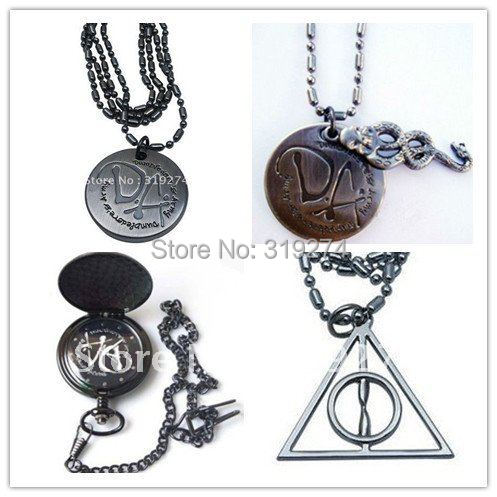 Free Shipping order of the phoenix Hogwarts magic Pocket Watch+Dumbledore's Army DA+Deathly Hallows Logo Necklace