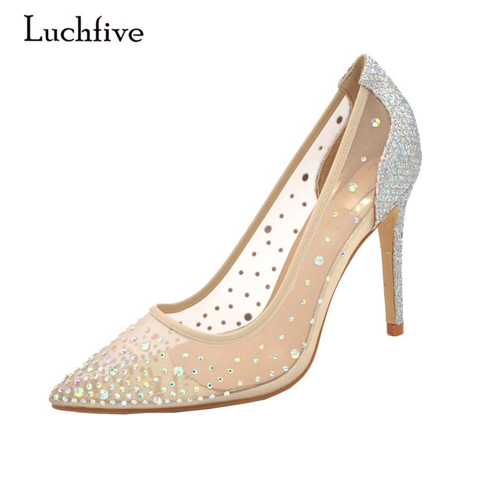 Luchfive argent bling Sexy femmes talons hauts pompes Nude Transparent cristal marque femmes chaussures de mariage sequin Zapatos mujer