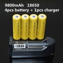 3.7V 18650 9800mAh Rechargeable Battery +18650 chager for LED Flashlight 4*18650 batteyr +charger GTL EvreFire цена 2017