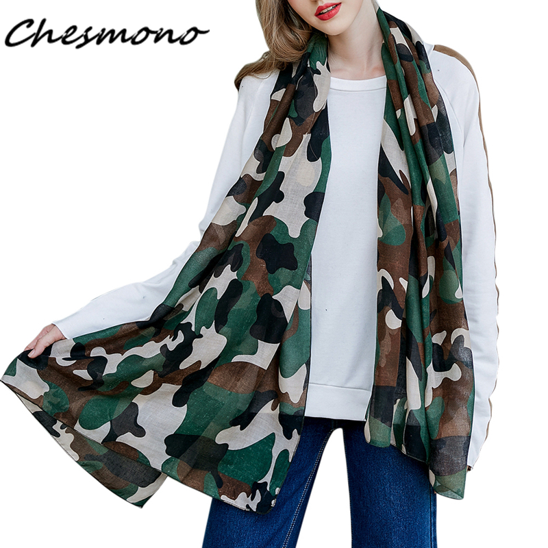 New Women's Military Style Scarf Camouflage Printed Shawl Long Lightweight Thin Super Soft Cozy Scarf Cape Muffler Female Stoles