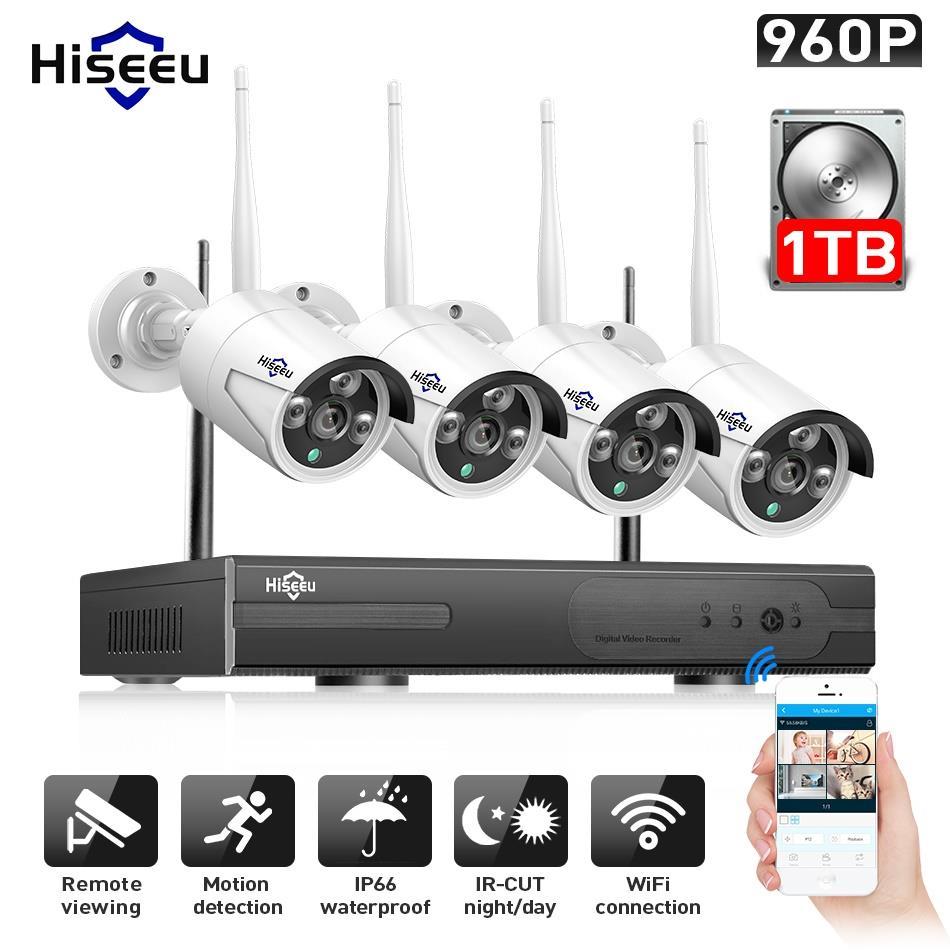 Hiseeu 960 P NVR 4 piezas 960 P seguridad inalámbrica Sistema de CCTV cámara IP al aire libre WIFI impermeable de Video vigilancia CCTV kit IP Pro