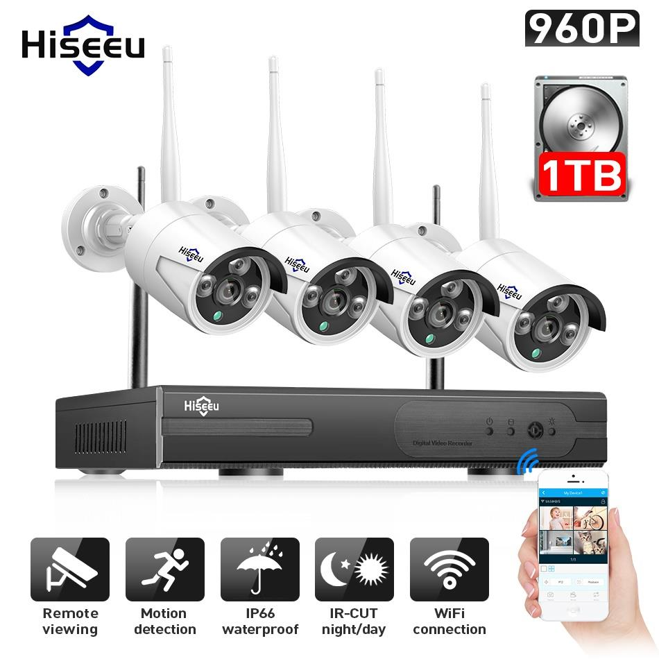 Hiseeu 960P NVR 4PCS 960P Sistem de securitate wireless CCTV Camera IP în aer liber WIFI Supraveghere video impermeabilă CCTV Kit IP Pro