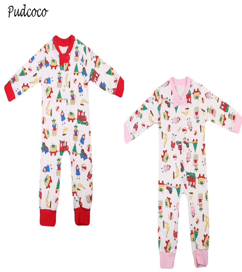 Pudcoco 2017 New Chirstmas Clothes Newborn Infant Baby Long Sleeve Rompers Jumpsuit Playsuit Toddler Boys Girls Clothes OnePiece