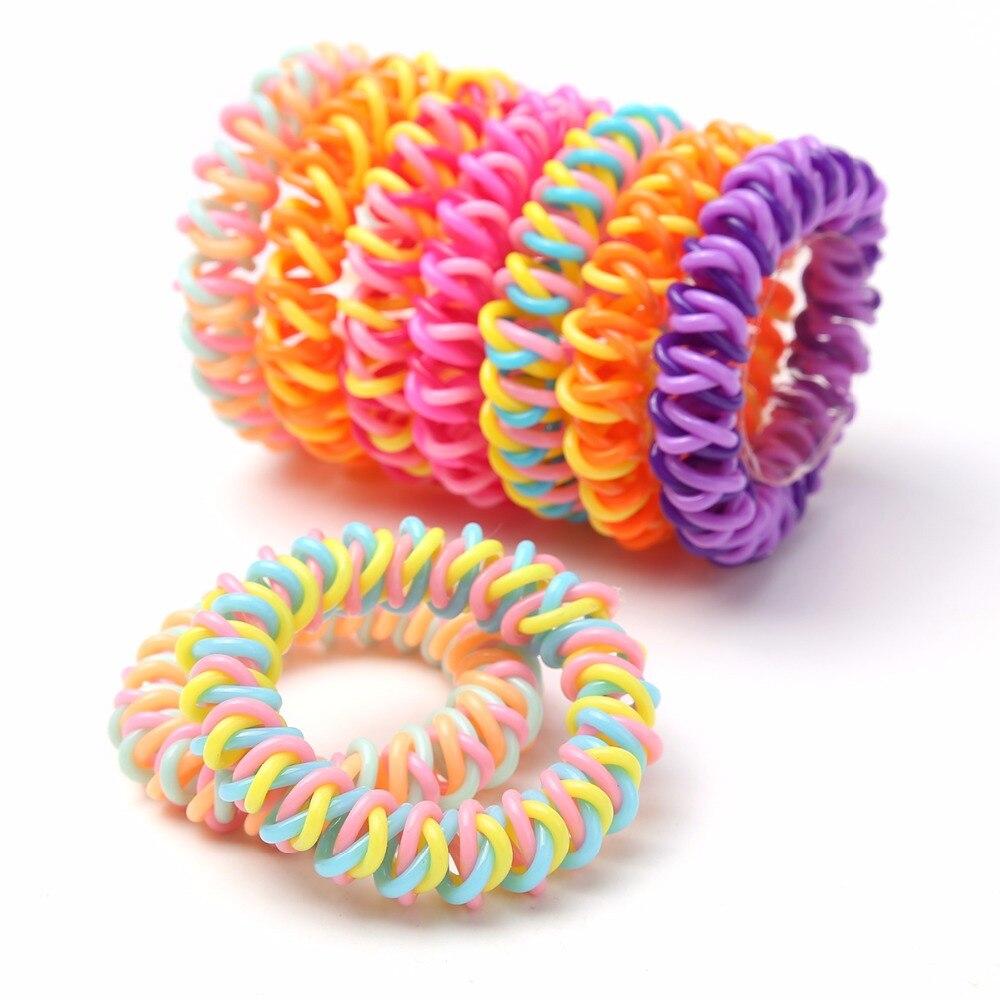 5 Pcs Spiral Hair Ties No Crease Elastic Ponytail Holders
