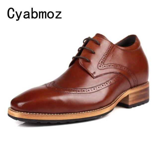 Vintage British Height Increasing 7CM Men Formal Dress Shoes Genuine Leather Square Toe Men's Carved Wing Tip Brogue Oxfords