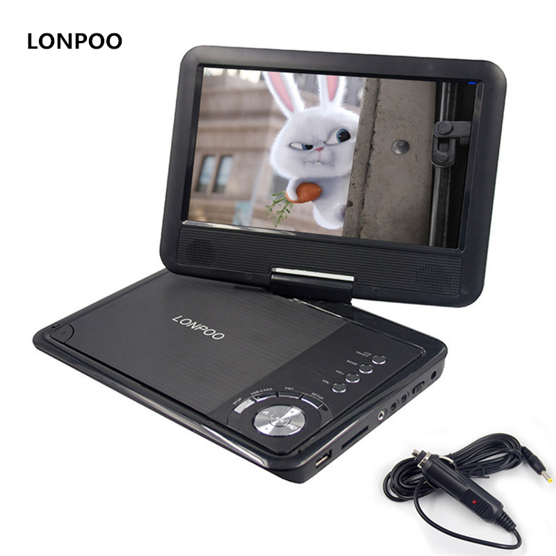 LONPOO New 9 Inch Portable DVD Player Swivel Screen VCD CD RW MP3 DVD Player USB SD Card RCA Game with Car Charger DVD Player 9 portable dvd player w game radio function black