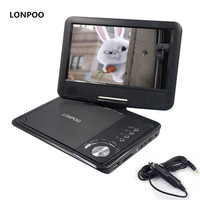 LONPOO New 9 Inch Portable DVD Player Swivel Screen VCD CD RW MP3 DVD Player USB SD Card RCA Game with Car Charger DVD Player