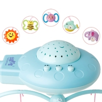 HBB Blue/Pink Baby Musical Crib Mobile Bed Bell Toys Plastic Hanging Rattles Stars Light Flash