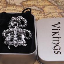 Dropshiping new arrival stainless steel Viking Wolf and Raven Mjolnir thor hammer rune pendant necklace men gift