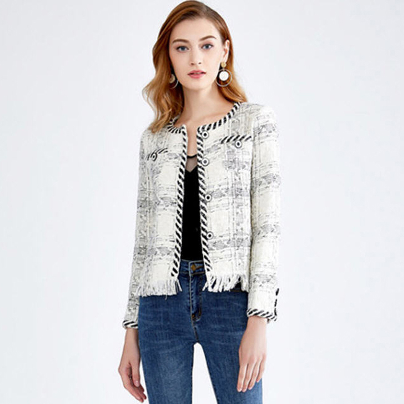 Élégant Automne Jc2445 D'o Picture 2018 Plaid Mode Unique Blanc Tweed As Poitrine Gland De Survêtement Veste Courte cou Manteaux Femmes Noir pUIdIq
