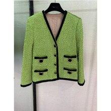 GG high-end custom-made garments green long-sleeved round collar womens coat fashion runway style
