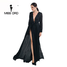 Free Shipping 2017 Sexy V-neck long-sleeved split green color MAXI dress FT2395-1