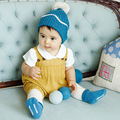 2016 Verano/Otoño de los Nuevos Niños Coreanos Bebé Niños Y Niñas de Algodón de Color Sólido Tejer Trajes/Bebé de Los Mamelucos