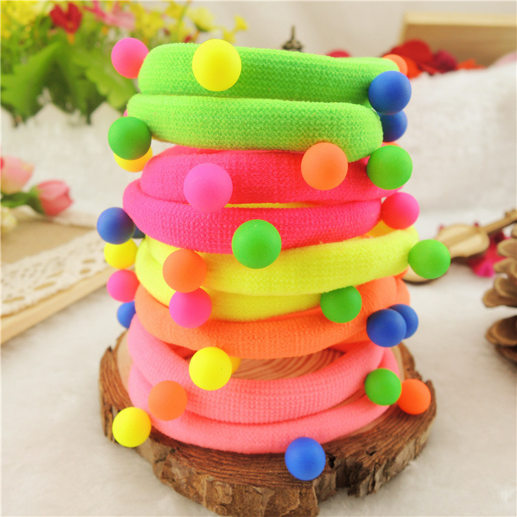 5pcs Candy Colored Rivet Hair Holders High Quality Rubber Bands Elastics Accessories Girl Women Tie Gum