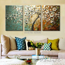Oil painting On Canvas Wall Pictures Painting For Living Room 3 pieces Panel Wall Art Palette Knife Hand Painted White Flower