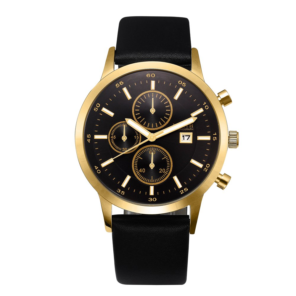 Luxury Black Men Watch Gold NORTH Brand Waterproof Genuine Leather Casual Business Dress Wristwatch Golden Quartz Male Clock luxury men gold watch top brand antique unique style dress business man quartz watch gimto simple casual male golden clock