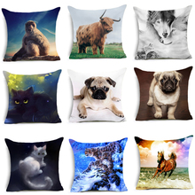 CUSCOV 2018 NEW Painted Animals Cushion Cover Cotton Polyester Horse Elephant Panda Home Decorative Pillow Pillowcase