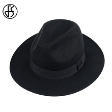 FS Black Felt Hats Men Wool Fedoras Female Wide Brim Trilby