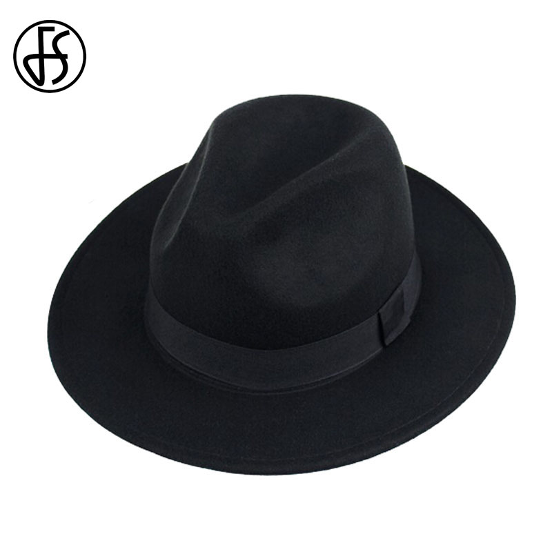 FS invierno Unisex negro mujeres Vintage Panamá sombrero enrollamiento  ancho Brim Trilby Jazz gorras Hip Hop Gorros fieltro sombreros para hombres f657f4e5153c