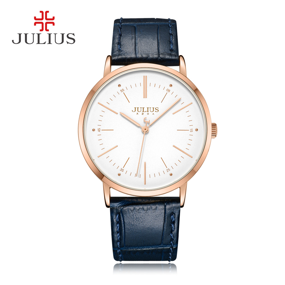 JULIUS Quartz Mens Watches Top Brand Luxury Simple Design Business Stylish Leather Strap Male Clock Dropshipping Reloj JA-1003