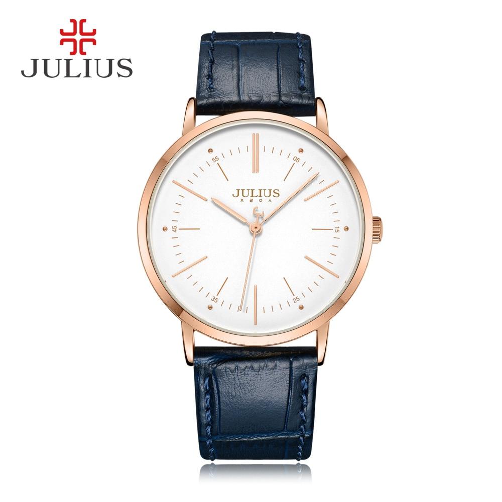 JULIUS zegarek kwarcowy męskie zegarki Top marka luksusowe prosta konstrukcja biznes stylowy skórzany pasek mężczyzna zegar Dropshipping Reloj JA 1003 w Zegarki kwarcowe od Zegarki na  Grupa 1