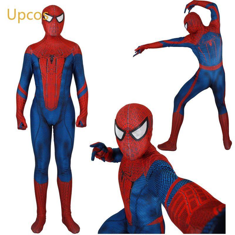 Classic The Amazing Spiderman Suit Halloween Peter Parke Spider Man Cosplay Costume Zentai(China)