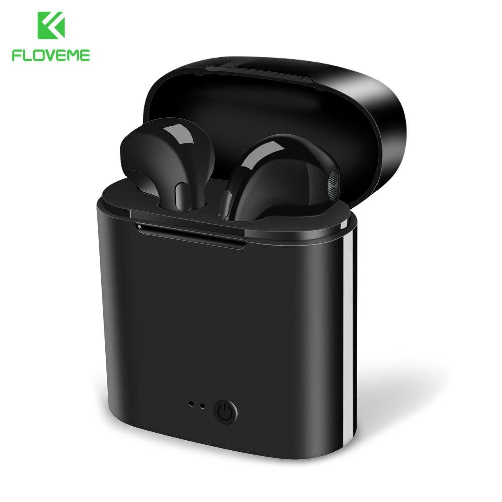 FLOVEME Cuffie Senza Fili Bluetooth i7s TWS Musica Auricolari Set Cuffie del Trasduttore Auricolare Per il iphone Samsung Portatile Chargable Auricolare